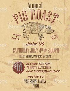 Pig Roast Invitation Template Free New Bbq Craft Paper Background Annual Pig Roast Invitation