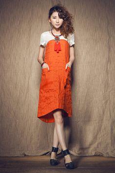 Contrast Color Linen Dress in Orange, Shirt Dress, Tunic Dress ./ Tea Length Kaftan Dress / Custom XS-XL,XXL, plus size clothing women A8049 on Etsy, $89.00