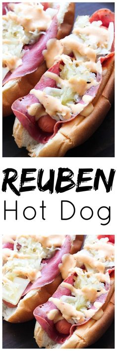 Reuben Hot Dog If you're looking for a spin on the classic hot dog, you're in luck. I've got a Reuben Hot Dog recipe that will make your grilling game on point! Gourmet Hot Dogs, Hot Dog Chili, Chili Dogs, Hot Dog Recipes, Sandwich Recipes, Over The Top, Burger Dogs, Good Food, Yummy Food