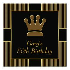King Crown Mans Black Gold Birthday Party Invitation