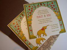 New Delhi 'Red Fort' Arch Wedding Invite by SamvadiyaCards on Etsy, $5.50