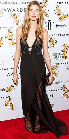 Last Night's Look: Love It or Leave It? Vote Now! | BEHATI PRINSLOO | in a lingerie-inspired black J. Mendel gown, featuring sheer detailing and a plunging neckline, plus Chopard gems, at the Fragrance Foundation Awards in N.Y.C.