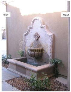 Wall Fountains in Cantera Stone, Pinon Beige Sandstone Wall ...