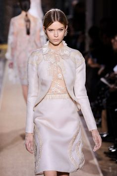 Valentino Spring 2012. Shimmering beauty with sheer lace--even super sheer lace gloves! Beautiful.