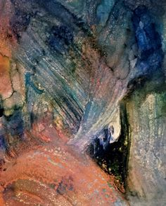 Abstract painting created by Shirley Johnson. Mixed media. Acrylic and ink on paper