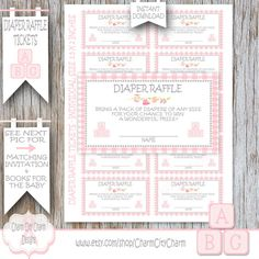 Baby Blocks Diaper Raffle Tickets Pink Baby by charmcitycharm