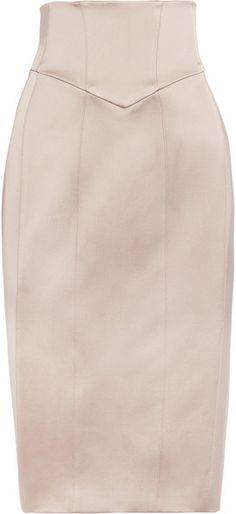 BURBERRY Corseted Silksatin Pencil Skirt - Lyst