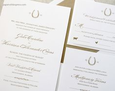 Horseshoe monogram wedding invitation, shown in gold ink.  Perfect for an equestrian themed wedding.
