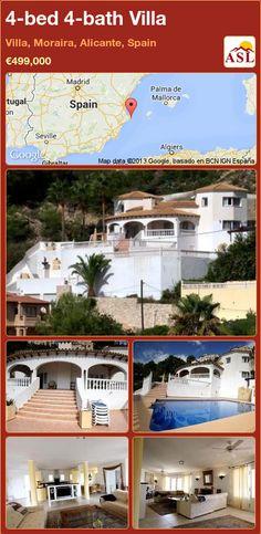 4-bed 4-bath Villa in Villa, Moraira, Alicante, Spain ►€499,000 #PropertyForSaleInSpain