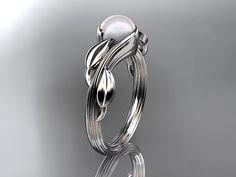 Platinum   pearl leaf and vine  wedding ring,engagement ring ADLR273