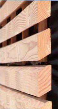 Bardage claire voie en douglas Essence : douglas de France, fabrication : bois massif hors aubier : sections des lames : 35x70mm, largeur utile 100mm : particularité : classe 3 naturel suivant normes en 335.2 et en 335.2 état de surface des lames : rabotées avec pente à 30°, normes de référence : marquage CE/PEFC/1063161492