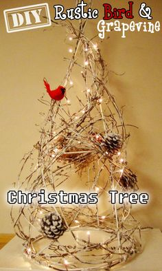 DIY Rustic Bird & Grapevine Christmas Tree – Top Easy Interior Design Decor Project - DIY Craft (2)