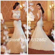 Sexy Sleeveless Low V Back Mermaid Long Train Lace Wedding Dress Patterns With Beadings $180.00