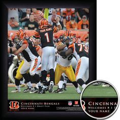 Cincinnati Bengals NFL Football - Personalized QB Action Hero Print / Picture. Thrilling game-day photos make your greatest football fan the on-field hero with our Personalized NFL Cincinnati Bengals Action Hero Prints. Our most exciting sports print displays your name in true-life NFL photographs as YOU make game-winning manoeuvres. Optional framing with mat is available. Perfect for gifts, rec room, man cave, office, child's room, etc. ( www.oakhousesportsprints.com )