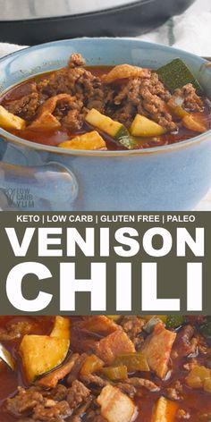 chili recipe Venison chili is rich and hearty, made with ground meat, bacon, veggies, and healthy beef bone broth. Make it on a stovetop or in a slow cooker! // low carb yum recipes // v Chili Recipe Stovetop, Best Chili Recipe, Chili Recipes, Slow Cooker Recipes, Paleo Chili, Venison Chili Recipe Crockpot, Game Recipes, Sausage Recipes, Slow Cooker Venison