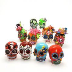 5 Pairs Skull Unpainted Day of Dead DIY Supplies Art Craft Figurine