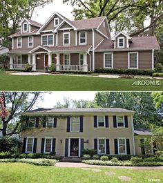 Before and After: From so-so to show-stopping, this exterior makeover rejuvenated this family's home with steep gable-end roofs and shaker siding in Northbrook Illinois