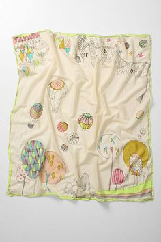 """Hot Air Balloon Scarf  style # 23832611  DETAILS  All tinged in neon, puffed-by-the-wind orbs buoyantly soar through a gossamer sky. By Beck Sondergaard.        Cotton      Machine wash      48"""" square      Imported"""