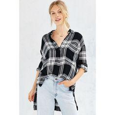 BDG Logan Button-Down Shirt ($29) ❤ liked on Polyvore featuring tops, black multi, button up shirts, oversized button down shirt, plaid shirt, oversized shirt and bdg shirts