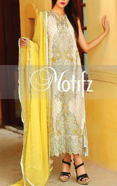 Buy Off-White Embroidered Crinkle Chiffon A-line Dress by Motifz 2015