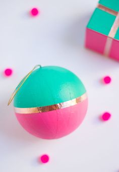 DIY painted Christmas ornaments with copper foil trim!