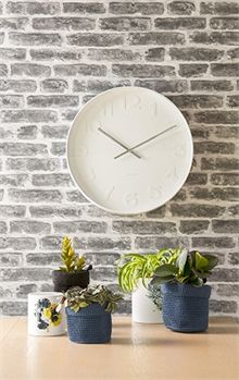 Karlsson - Wall clock Mr. White numbers, white case D. 37,5cm, H. 6cm, Excl. 1 AA batt., BOX32 Design