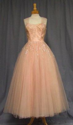 1950s Style Tea Length Wedding Dress with Full Skirt, Wide Sheer Straps Embellished Bodice