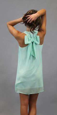 Mint Bow Back Tank Dress