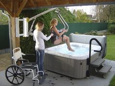 Spa, Jacuzzi and Hot Tub Hoist for person with mobility disabilities. Wheelchair access to Hot Tub. #ADA. #WheelchairAccessible.