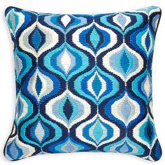 Patterned Pillows - Tonal Blue Bargello Waves Pillow by Jonathan Adler Modern Throw Pillows, Toss Pillows, Accent Pillows, Decorative Throw Pillows, Floor Pillows, Bargello Needlepoint, Pillow Fight, Pillow Talk, Luxury Sofa