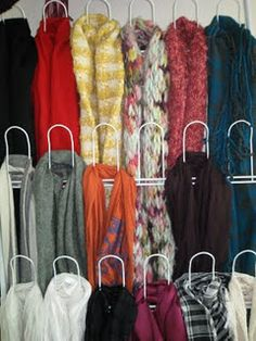 Great Idea for your scarves.LOOK ->shoe holder turned scarf holder Scarf Rack, Scarf Holder, Scarf Organization, Home Organization, Organization Ideas, Craft Show Displays, Display Ideas, Display Boards, Store Displays