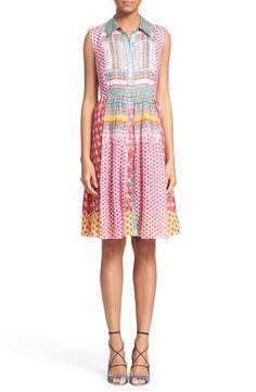Diane von Furstenberg 'Nieves' Floral Print Sleeveless Silk Shirtdress