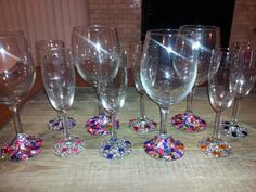 DIY Bedazzled wine glasses