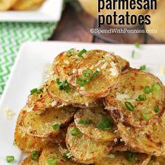 Crispy Garlic Parmesan Potatoes Recipe Side Dishes with potatoes, olive oil, garlic powder, parsley, salt, fresh parmesan cheese