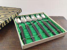 Vintage Mid Century forks Set of 6 Stainless steel by TasteVintage
