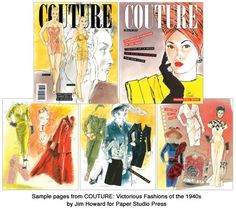 COUTURE: Victorious Fashions of the Paper Dolls by famous fashion illustrator, Jim Howard. Paper Dolls Book, Vintage Paper Dolls, Barbie Fashion Sketches, Pierre Balmain, Yesterday And Today, Fashion History, Victorious, 1940s, High Fashion
