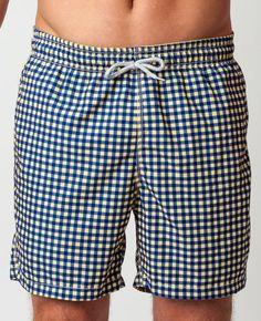 4583c524fa Gingham Swim Trunks - Navy/Yellow - Michael's Swimwear - use code SUMMER50  for 50% OFF!