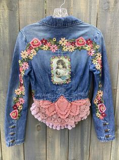"Embellished Denim Jean Jacket Bolero Gypsy jacket Bohemian jacket ""Baby Doll"" jacket Hippie Boho jacket Party jacket M Denim And Lace, Men's Denim, Crochet Vintage, Party Jackets, Ethno Style, Denim Ideas, Denim Crafts, Embellished Jeans, Recycle Jeans"