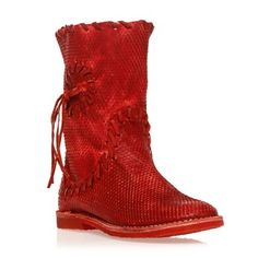 2a11aaadb420f Bottes en cuir rouge - Lazamani - Ref  986950   Brandalley Cuir Rouge,  Bottes
