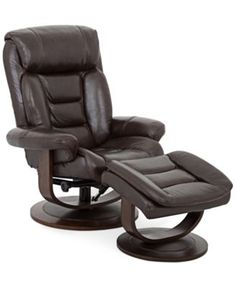 Eve Leather Recliner with Ottoman  sc 1 st  Pinterest & Annaldo Leather Swivel Chair u0026 Ottoman 2-Pc. Set | Olivia Falls ...