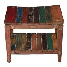 Recycled Salvaged Reclaimed Boat Wood Indoor Outdoor Bench- Sojourn Style Asia Stool