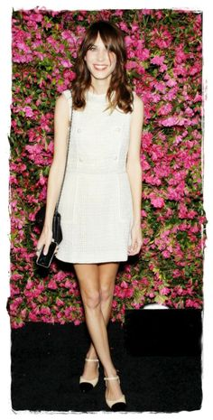 Alexa Chung Street Style Snapshot - Chic Tweed Mini Dress |  Do you know the truly marvellous thing about Alexa Chung? You can ALWAYS count on her to look cool and stylish, and at Chanel's annual dinner for Tribeca Film Festival, no-one could compete with her chic tweed mini dress (it was Chanel obvs).