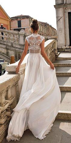 a line high neckline lace detailed julie vino wedding dresses / http://www.deerpearlflowers.com/best-wedding-dresses-2018/8/