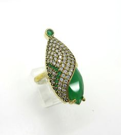 Vintage Emerald Topaz Statement Ring, Two Tone Sterling Silver Ring, Size 9