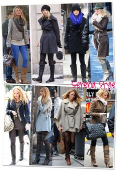 {Serena Van Der Woodsen} | Black beanie, black coat, black turtleneck sweater, black jeans, black knee high boots // Baby blue coat, white sweater dress, plaid leggings, black over the knee boots, white gloves // Gray cape, gray sweater dress, tights, tan ankle booties, bag.