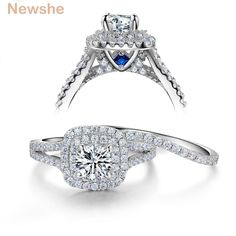 Newshe 3 Pieces 925 Sterling Silver Wedding Rings For Women 2 Ct AAA CZ Blue Side Stones Classic Jewelry Engagement Ring Set Sterling Silver Wedding Sets, Sterling Silver Rings, Silver Jewelry, Fine Jewelry, Women Jewelry, Stylish Jewelry, Fashion Jewelry, Quartz Jewelry, Engagement Wedding Ring Sets
