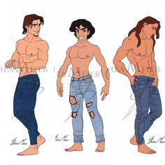 """Andrea Meier Art on Instagram: """"""""JEANS COLLECTION"""" so far by Andrea Meier 👖 In this series you will find the Disney Princes in their jeans, shirtless and barefoot 😜 What…"""" Cartoon Network Adventure Time, Adventure Time Anime, Disney Men, Walt Disney, Disney Movies, Disney Characters, Fictional Characters, Punk Disney Princesses, Disney Artists"""