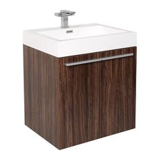 Fresca Alto Walnut Modern Bathroom Cabinet w/ Integrated Sink
