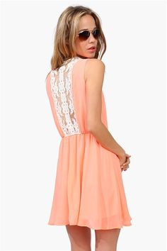 Lace Craze Dress! Love the pretty coral color Get a discount: http://www.studentrate.com/itp/get-itp-student-deals/Necessary-Clothing-Student-