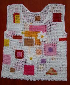 Подробный МК Form Crochet, Unique Crochet, Crochet Squares, Filet Crochet, Aran Knitting Patterns, Crochet Patterns, Crochet Blouse, Crochet Fashion, Handmade Clothes